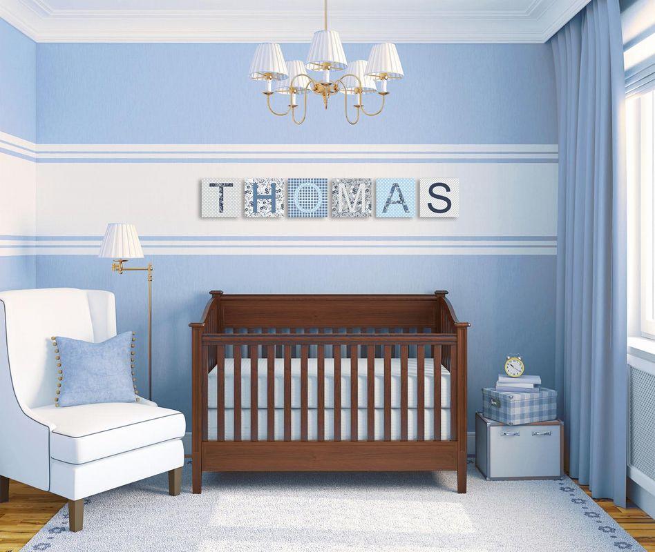 deco chambre bebe bleu et taupe - visuel #5