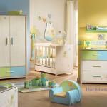 deco chambre bebe vert et bleu