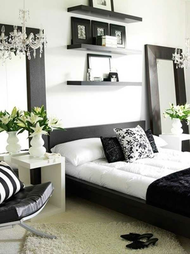 decoration chambre a coucher noir et blanc