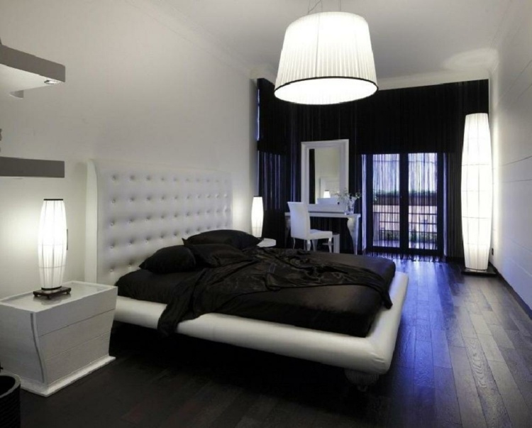 chambre a coucher blanc et noir. Black Bedroom Furniture Sets. Home Design Ideas
