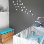 decoration chambre bebe turquoise et gris
