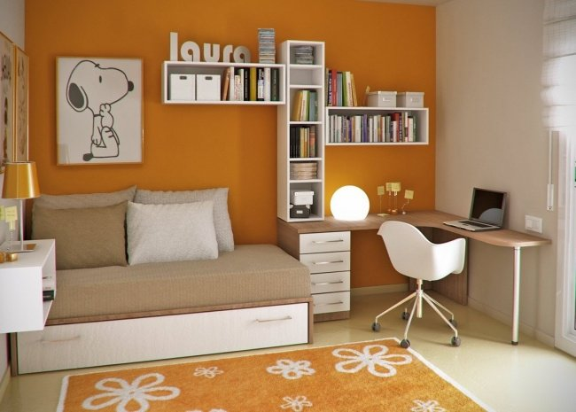 decoration chambre garcon orange et gris
