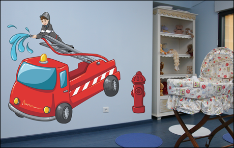 decoration chambre garcon pompier visuel 5. Black Bedroom Furniture Sets. Home Design Ideas