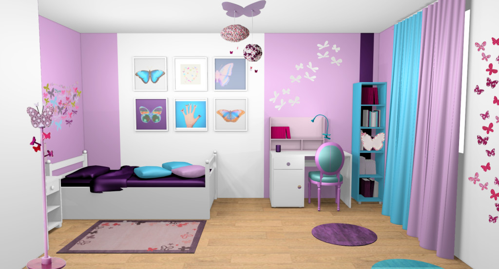 decoration interieur chambre fille visuel 3. Black Bedroom Furniture Sets. Home Design Ideas