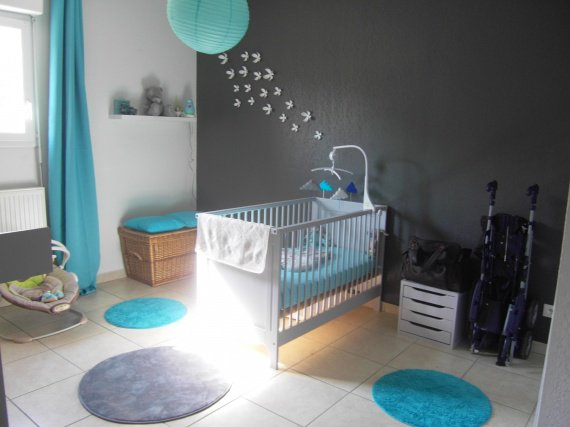 deco chambre bebe taupe turquoise - visuel #2