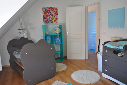 deco chambre bebe taupe turquoise - visuel #3