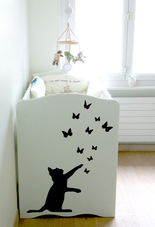 decoration chambre bebe chat. Black Bedroom Furniture Sets. Home Design Ideas