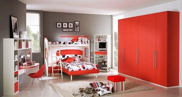 idee deco chambre ado rouge gris - visuel #3