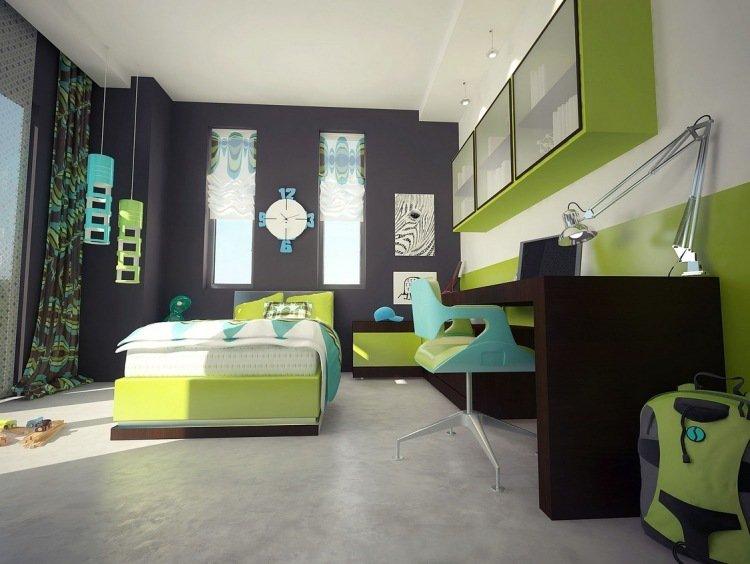 chambre deco vert anis