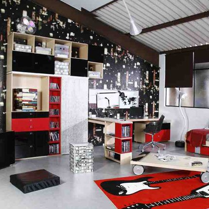 deco chambre ado garcon rouge noir visuel 8. Black Bedroom Furniture Sets. Home Design Ideas