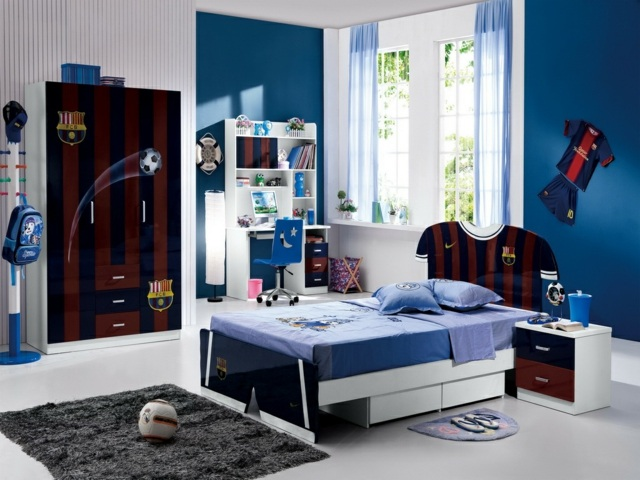deco chambre theme football. Black Bedroom Furniture Sets. Home Design Ideas