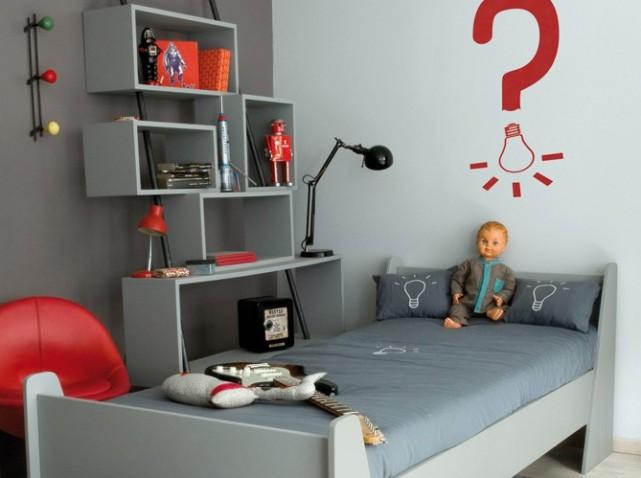 decoration chambre ado gris rouge - visuel #4
