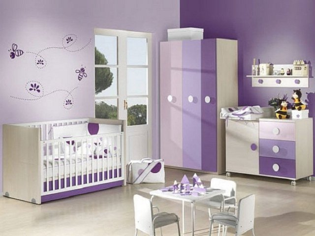 idee deco chambre bebe fille mauve - visuel #6