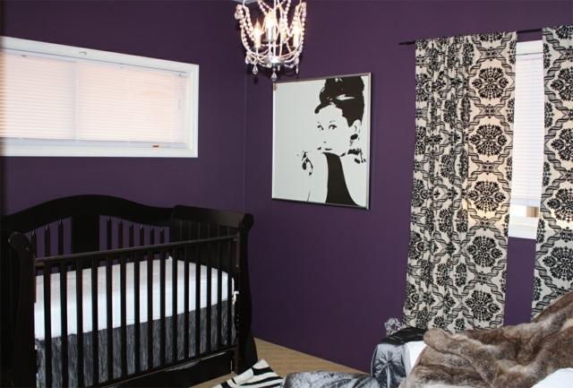 deco chambre fille mauve et gris - visuel #7