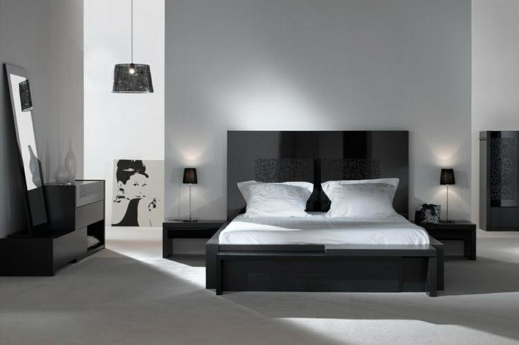 decoration chambre noire et blanche