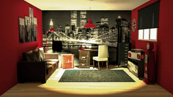 Deco chambre theme new york for Chambre fille new york