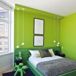 chambre vert anis et blanc
