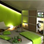 deco chambre vert et marron