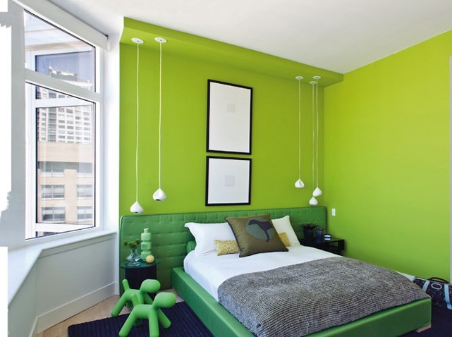 deco chambre vert et marron - visuel #8