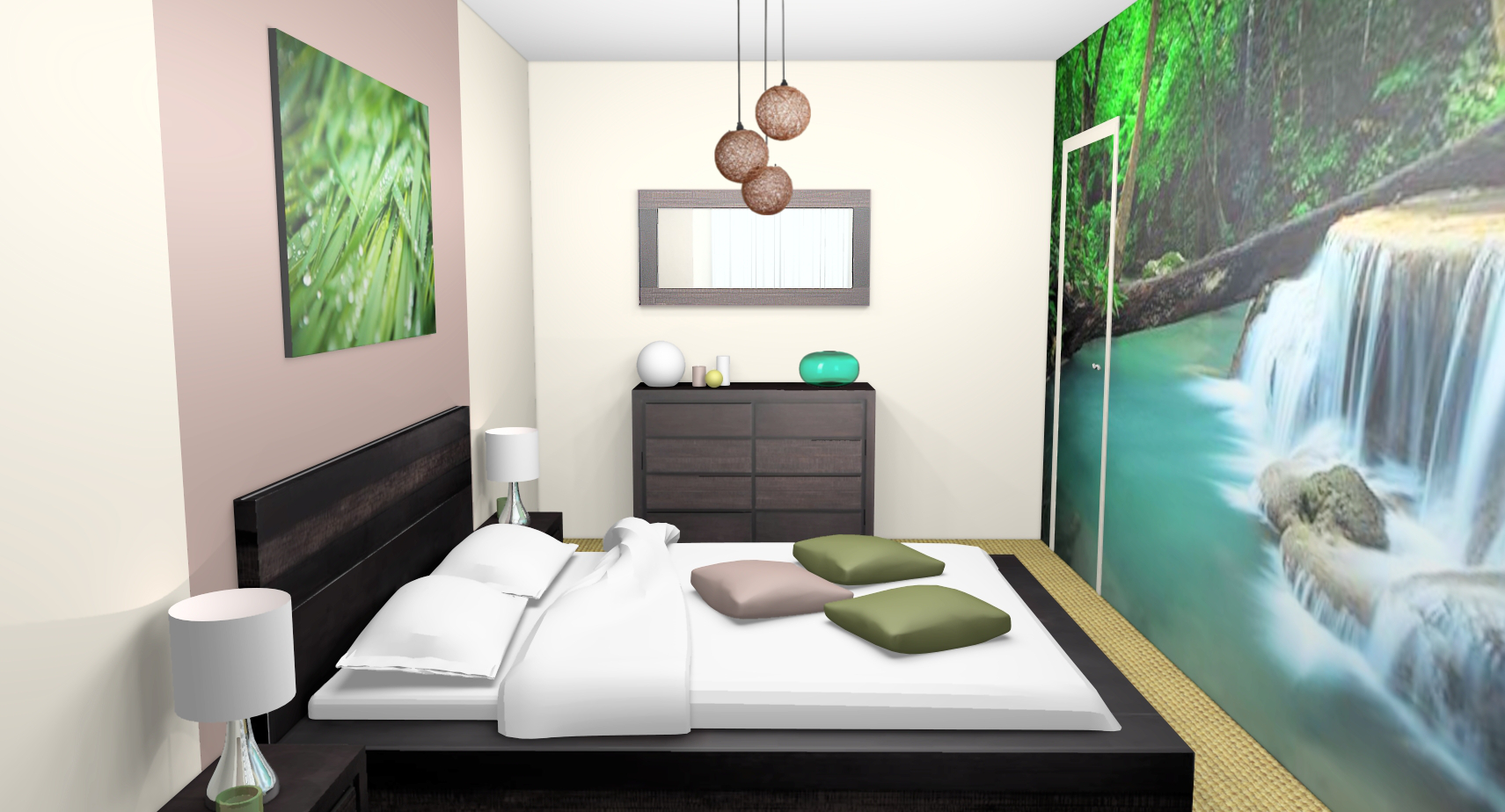 deco chambre zen vert gris. Black Bedroom Furniture Sets. Home Design Ideas