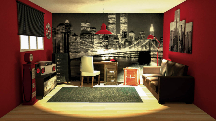decoration de chambre theme new york. Black Bedroom Furniture Sets. Home Design Ideas