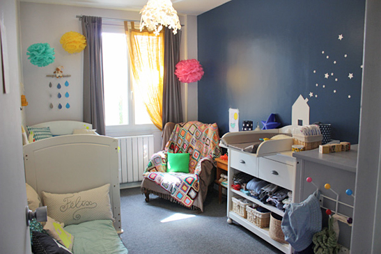deco chambre bebe bleu marine - visuel #2