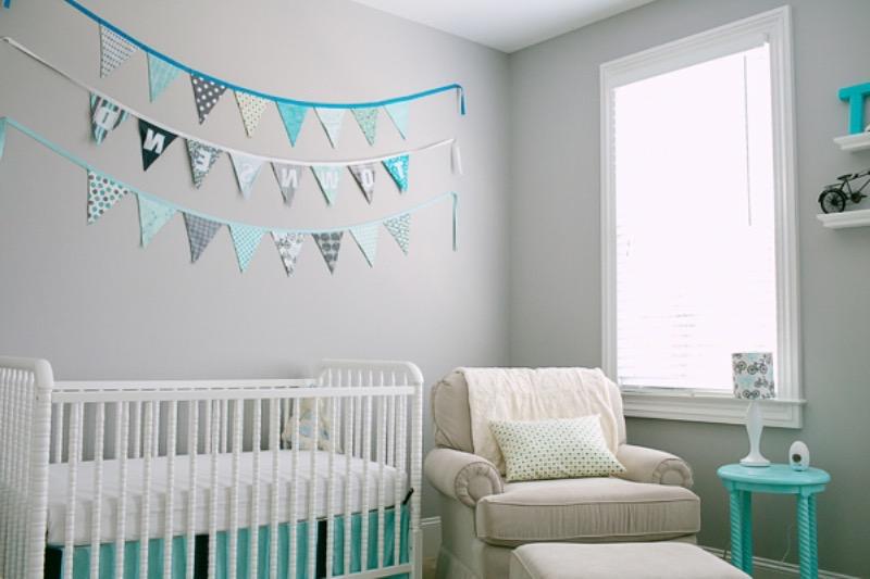 deco chambre bebe bleu turquoise - visuel #2