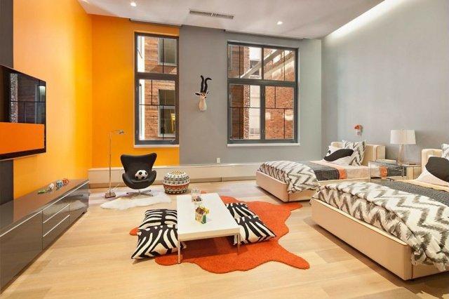 deco chambre orange et gris - visuel #6