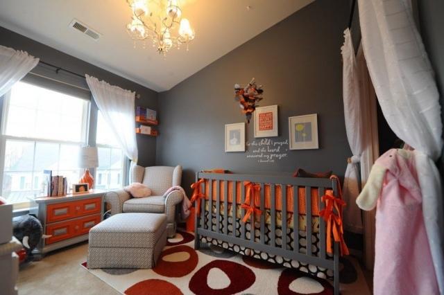 deco chambre orange et gris - visuel #8