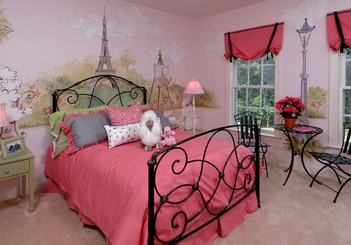 decoration chambre fille theme paris. Black Bedroom Furniture Sets. Home Design Ideas