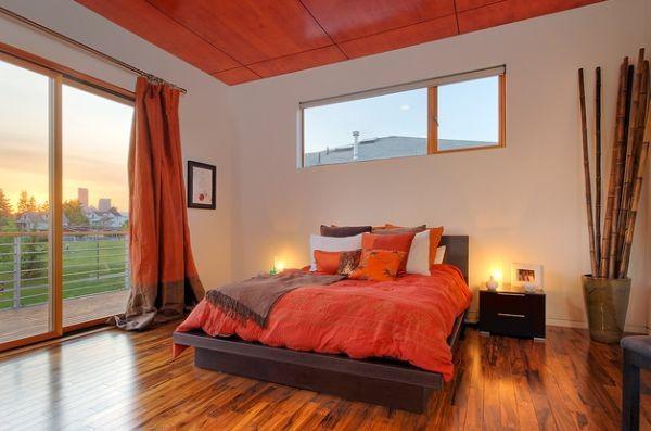 decoration chambre orange marron - visuel #8