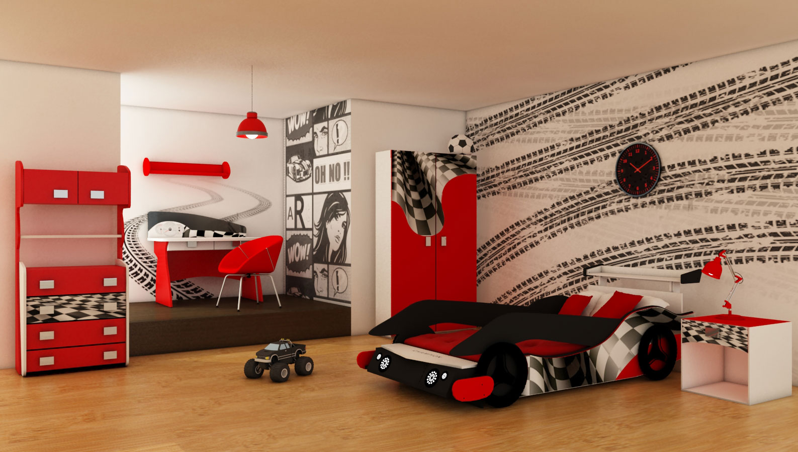 chambre deco formule 1. Black Bedroom Furniture Sets. Home Design Ideas