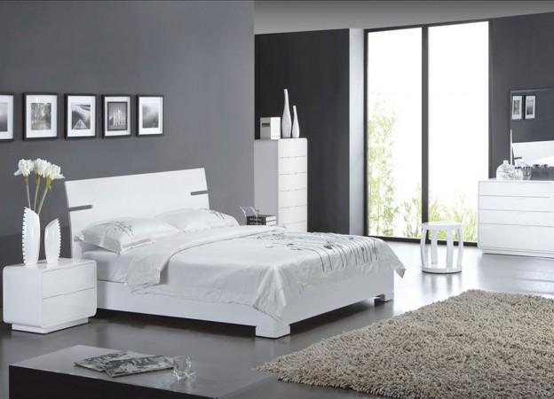 chambre deco gris et blanc - visuel #9