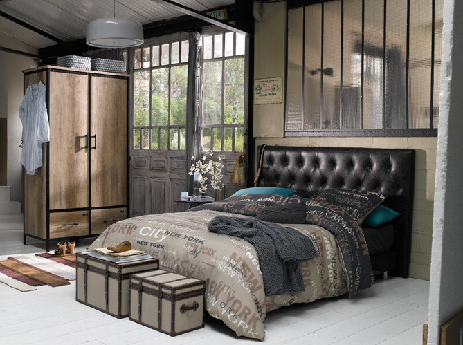 chambre style industriel. Black Bedroom Furniture Sets. Home Design Ideas