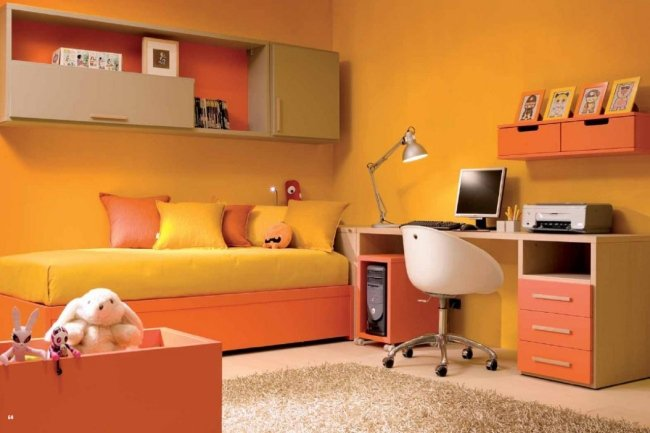 decoration chambre orange jaune - visuel #3