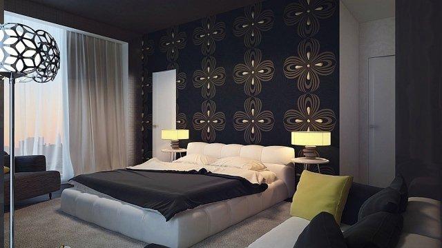 Decoration De Chambre A Coucher Avec Papier Peint  Visuel