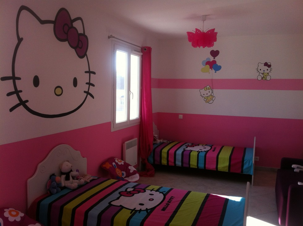Deco chambre kitty for Chambre enfant fille hello kitty