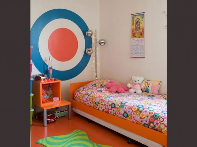 deco chambre fille rose orange - visuel #5