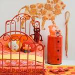deco chambre fille rose orange