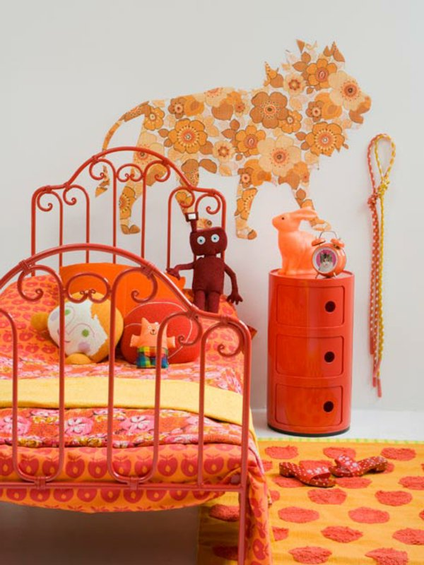 deco chambre fille rose orange - visuel #9