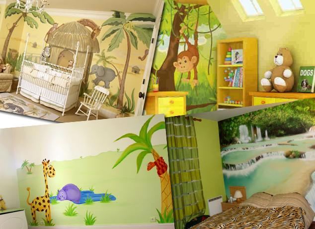 decoration chambre jungle. Black Bedroom Furniture Sets. Home Design Ideas