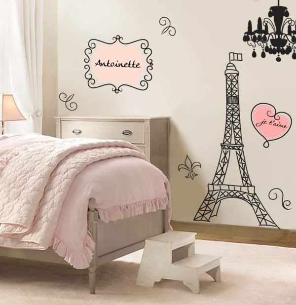Deco chambre fille theme paris for Deco de la sala negro y rosa