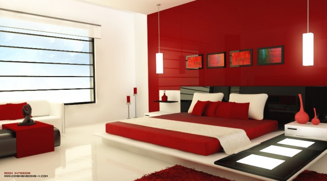 decoration chambre en rouge et blanc visuel 8. Black Bedroom Furniture Sets. Home Design Ideas