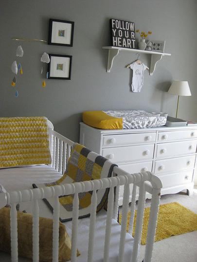 deco chambre bebe jaune gris - visuel #7
