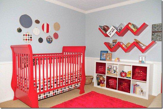 deco chambre bebe rouge et gris visuel 8